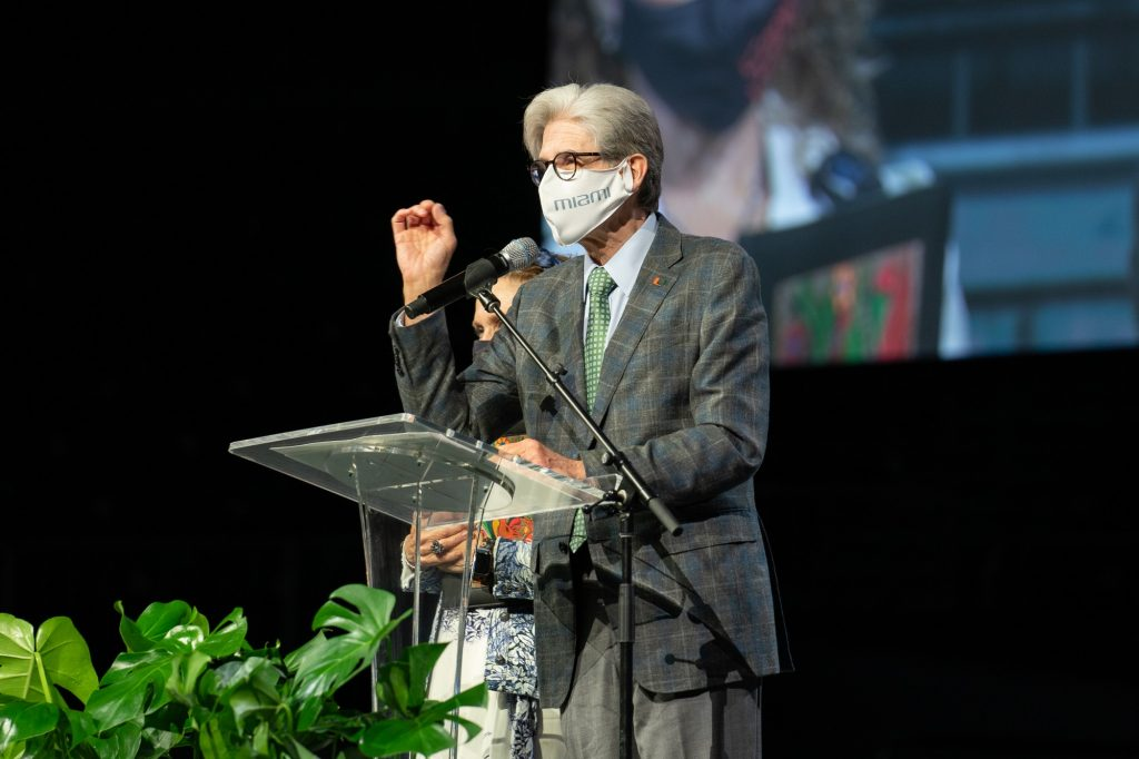 President Frenk welcomes the class of 2025 to the University of Miami during the President's Welcome program in the Watsco Center on Aug. 19, 2021.