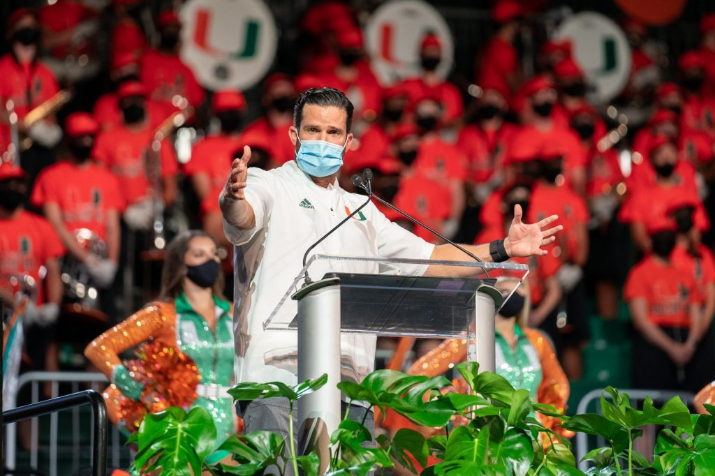 Hurricanes football Head Coach Manny Diaz welcomes the class of 2025 during the Canes Take Flight program in the Watsco Center on Aug. 19, 2021.