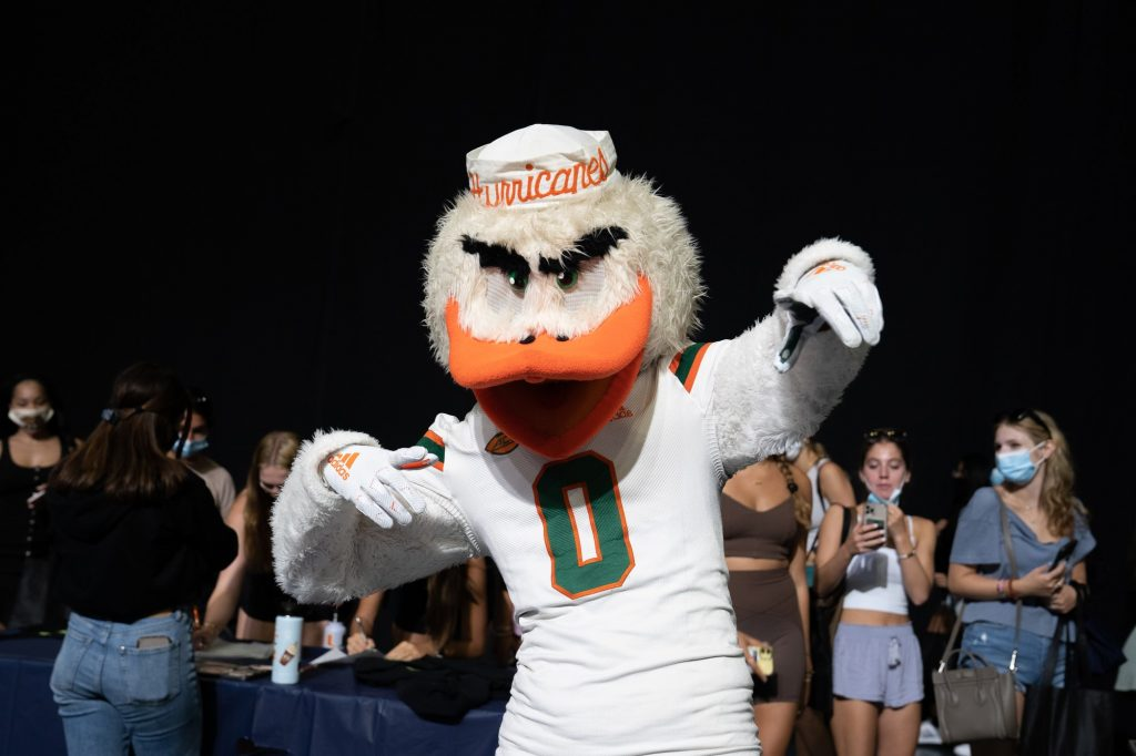 Sebastian the Ibis poses during Canefest in the Watsco Center on Aug. 22, 2021.