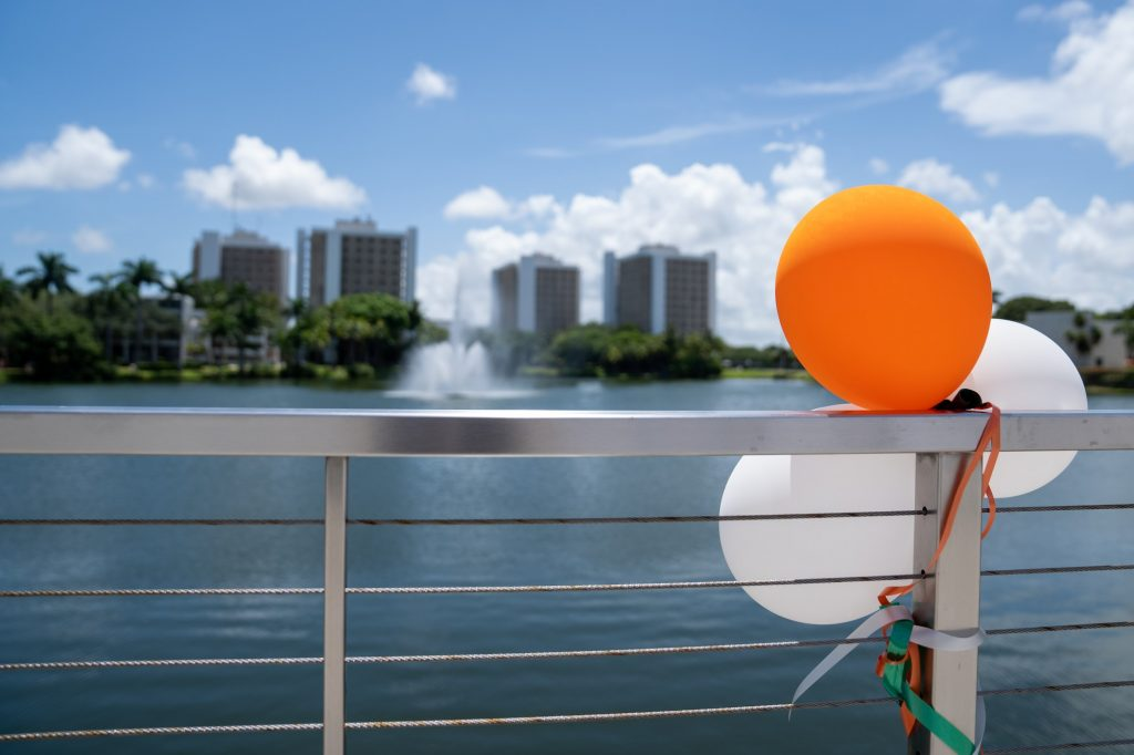 Decorative balloons adorn Fate Bridge, welcoming incoming Freshman and family members during 'Cane Kickoff 2021, on Aug. 17, 2021.