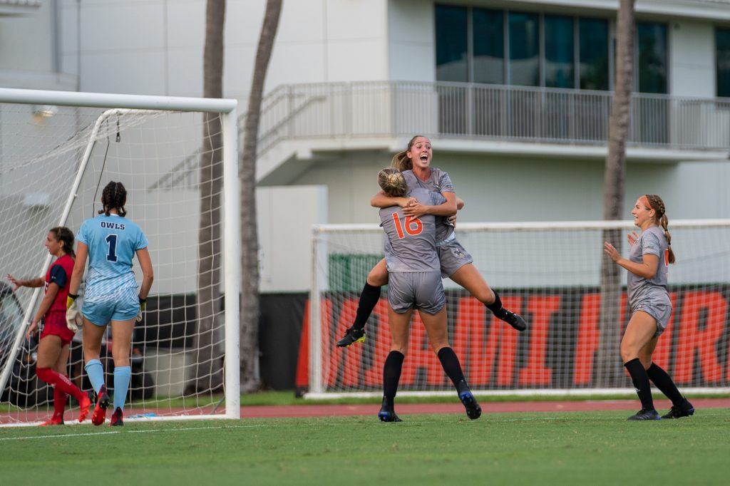 Sophomore midfielder/forward Katerina Molina embraces teammate Jackie Koerwitz after scoring a goal during the Canes' match versus FAU at Cobb Stadium on Aug. 22, 2021.