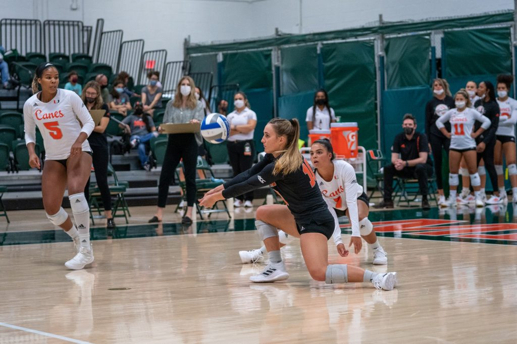 Senior defensive specialist Priscilla Hernandez bumps the ball during the Canes' game versus UMBC in the Knight Sports Complex on Aug. 29, 2021.