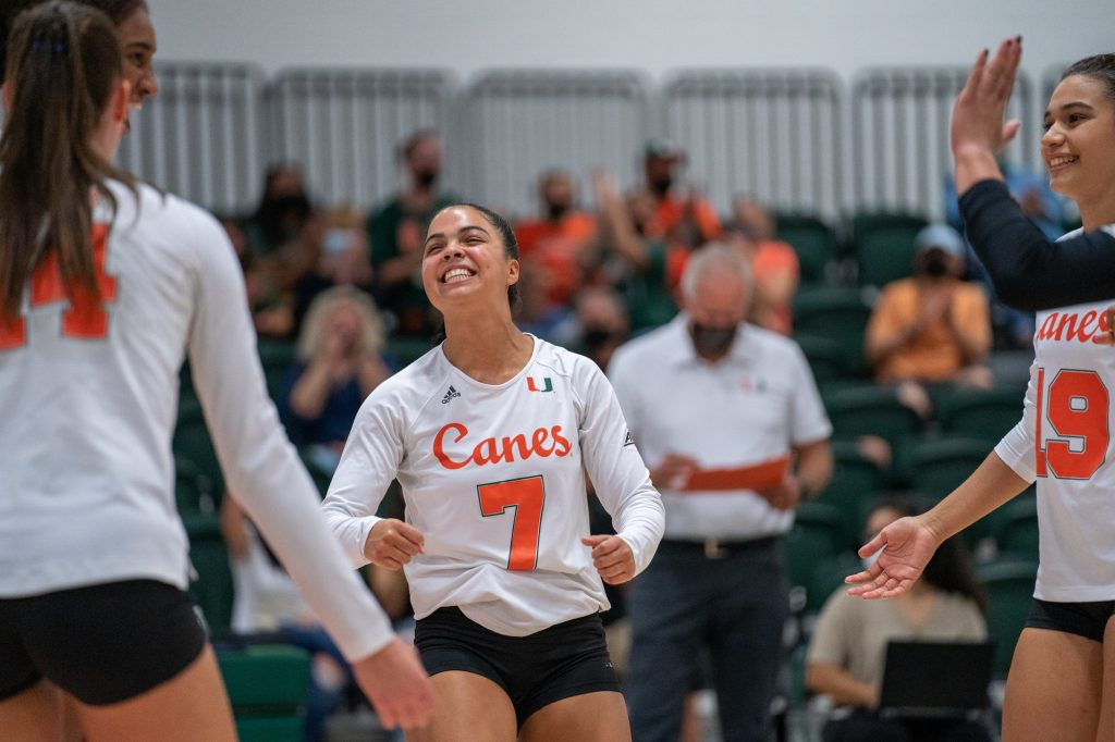 Freshman defensive specialist Yaidaliz Rosado celebrates after the Canes scored a point during their game against UMBC in the Knight Sports Complex on Aug. 29, 2021.