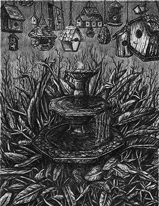 "Catherine Kramer (printmaking), Birds of Paradise, 2021, lithography, 11""x14"""