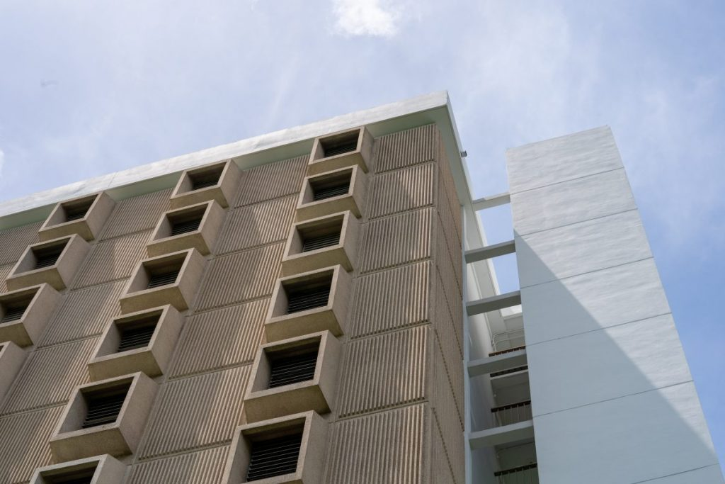 McDonald Tower, part of Hecht Residential College, is pictured midday on July 10, 2020.