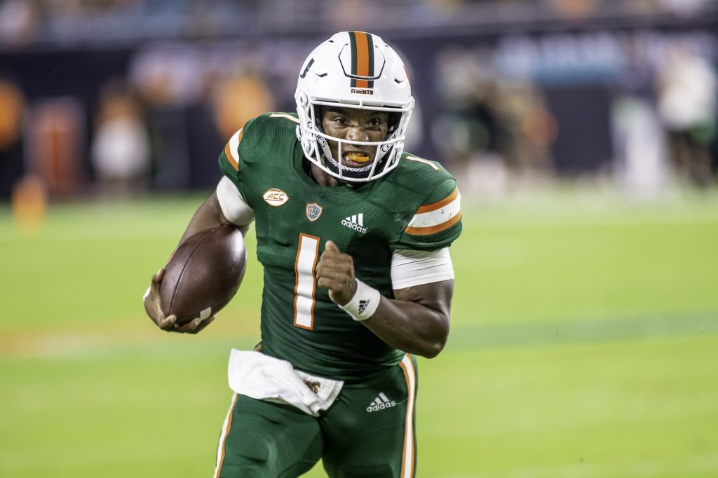 Redshirt senior D'Eriq King runs towards the sideline during the second half of Miami's win over Ap[palachian State at Hard Rock Stadium on Saturday Sept. 11. King rushed for 79 total yards and had a long of 29 years.
