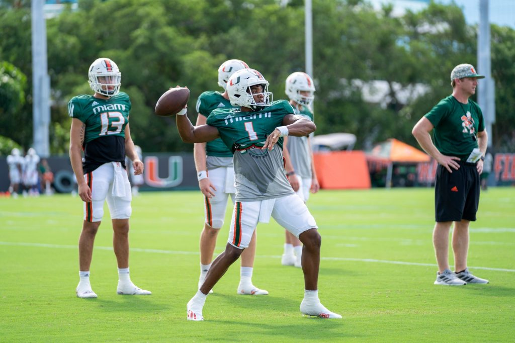 Redshirt senior quarterback D'Eriq King throws the ball during practice at the Greentree Practice Fields on Aug. 31, 2021.