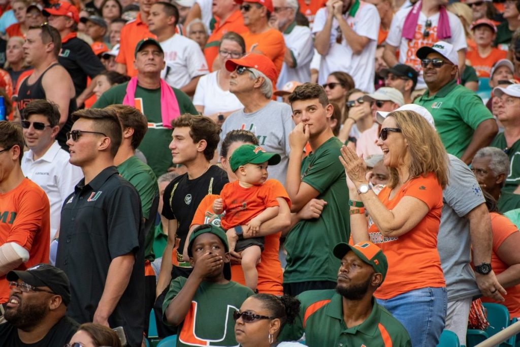Students and parents spend time together at the football game Saturday Oct. 5, 2019 during family weekend.