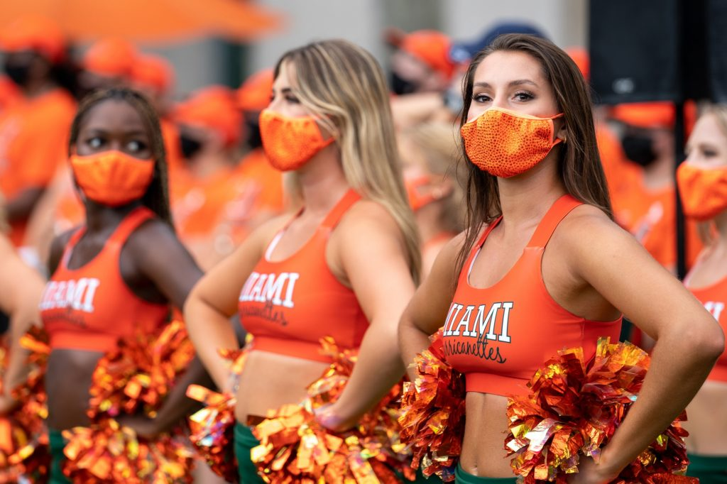 Members of the Hurricanettes wait to perform during the Family Weekend Pep Rally & BBQ on the Foote Green on Sept. 24, 2021.