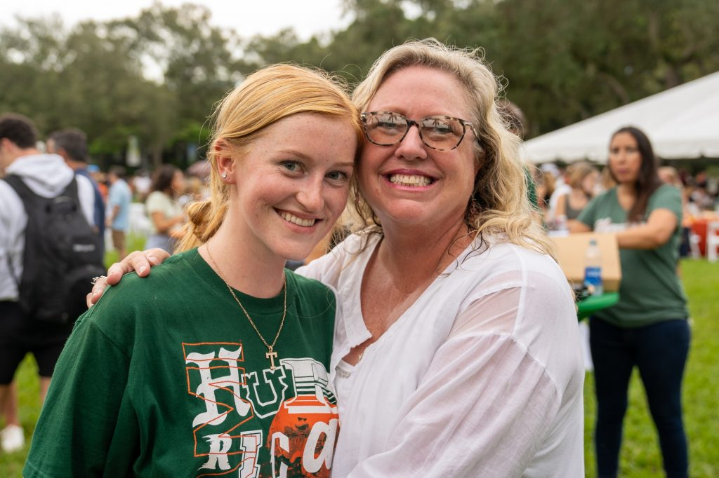 Freshman Tiernan Trout and mother Tracy pose during the Family Weekend Pep Rally & BBQ on the Foote Green on Sept. 24, 2021.
