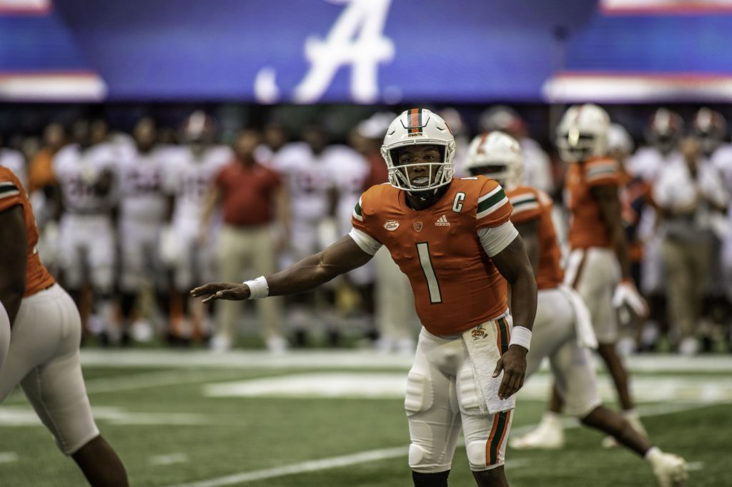 D'Eriq King looks to the sideline for a play call during Miami's game against Alabama on Sept. 4 at Mercedes-Benz Stadium at Atlanta.