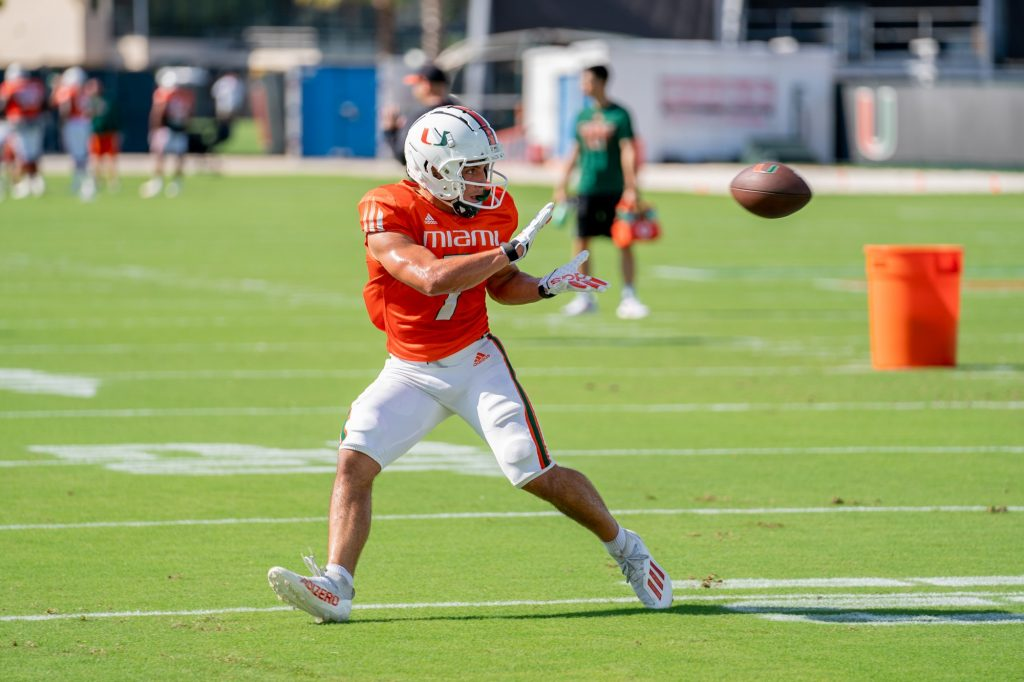 Freshman wide receiver Xavier Restrepo catches a pass during a drill at the Greentree Practice Fields on Sept. 14, 2021.