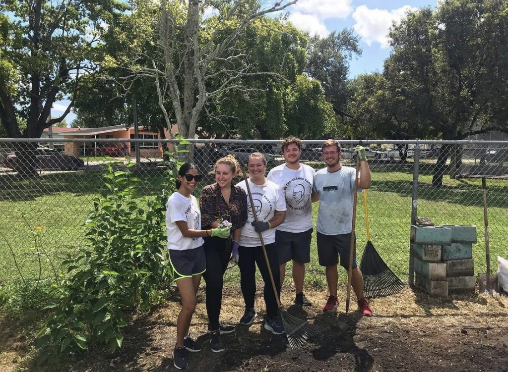 The National Association for Music Education at the University of Miami cleaned up the Olinda Elementary School in Brownsville, Fla. and painted their office on Gandhi Day, 2019, the last before the start of the pandemic.
