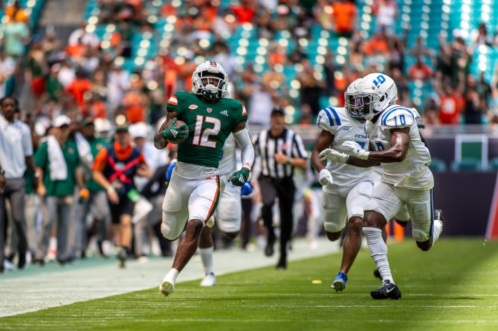 Freshman wide receiver Brashad Smith runs down the sideline in Miami's 69-0 victory over Central Connecticut State University at Hard Rock Stadium on Saturday Sept. 25.