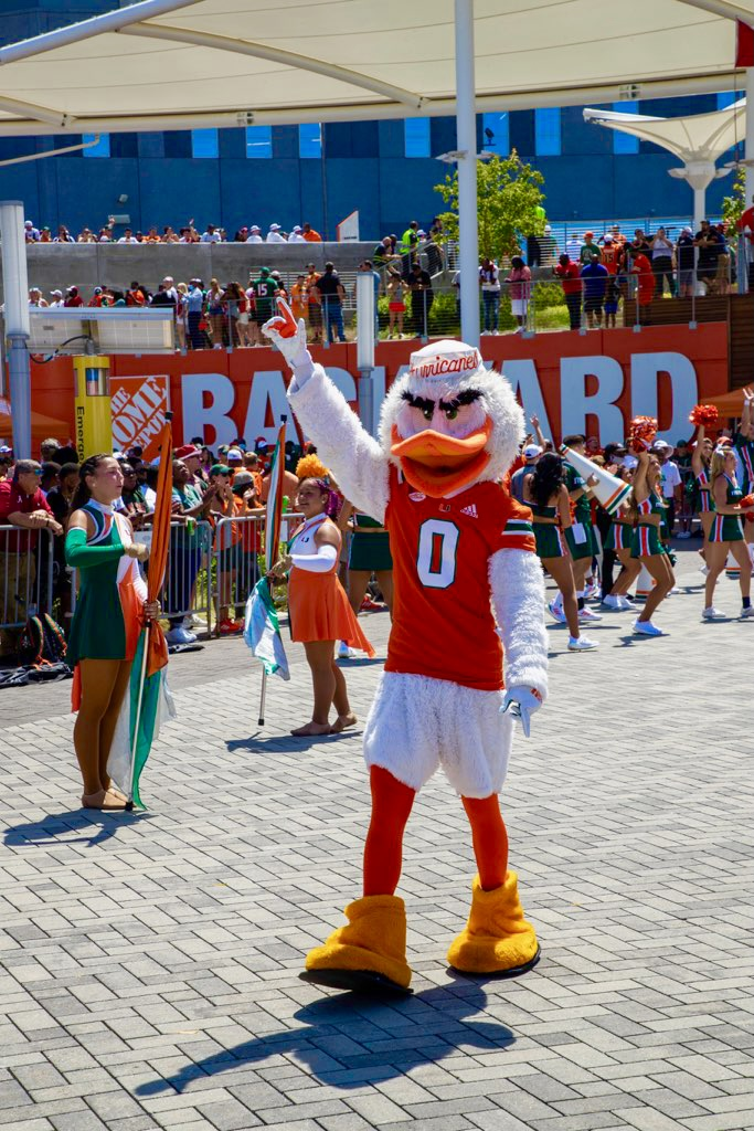 Canes mascot Sebastian the Ibis made the trip to Mercedes-Benz Stadium in Atlanta to cheer Miami on against Alabama.