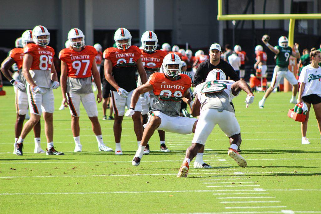 Freshman linebacker Tirek Austin-Cave tries to get past a blocker during practice on Sept. 14, 2021.