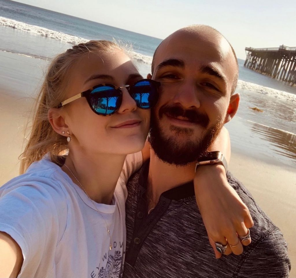 Gabby Petito (left) with fiancé Brian Laundrie (right) celebrating their one year anniversary on Instagram in March 2020