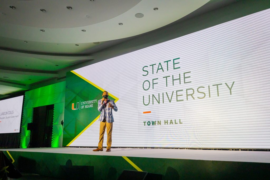 Student Government President Landon Coles reflected on UM's response to COVID-19, the Black Lives Matter movement and the return of fully in-person learning during Tuesday's town hall.