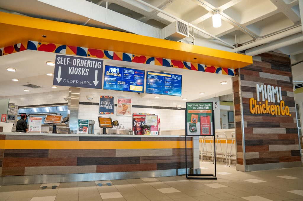 The store front of Miami Chicken Company, located at the Lakeside front of the UM food court. Students have given mixed reviews since the restaurant's opening earlier this semester.