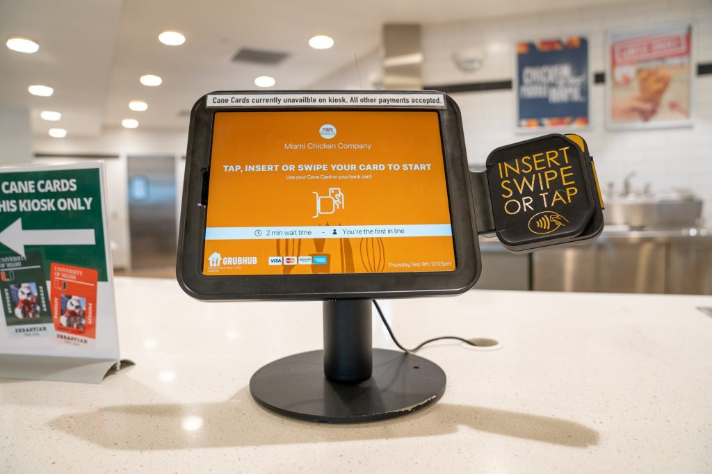 The self-pay kiosk at Miami Chicken Company, which has streamlined the checkout process at UM's newest restaurant. The kiosk has run smoothly outside of momentary, isolated technical difficulties.