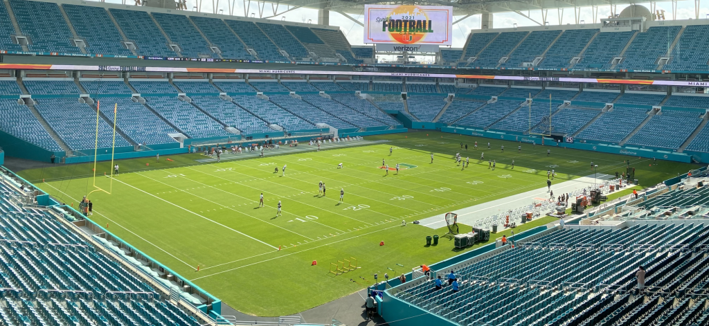 Canes football players warm up at Hard Rock Stadium prior to the 2021 spring football game. UM students will return to Hard Rock Stadium for the first time since 2019 on Saturday when Miami takes on Appalachian State in its first home game of the season.