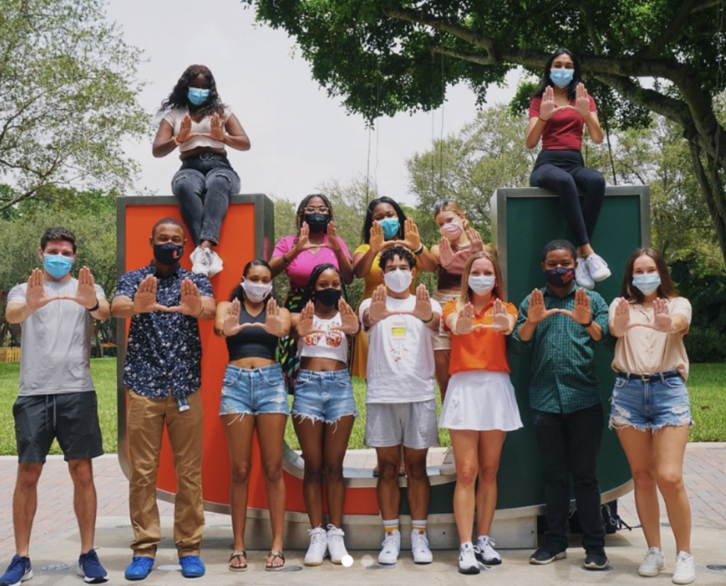 The University of Miami Student Government pictured by the U statue on August 23, the first day of the fall semester.