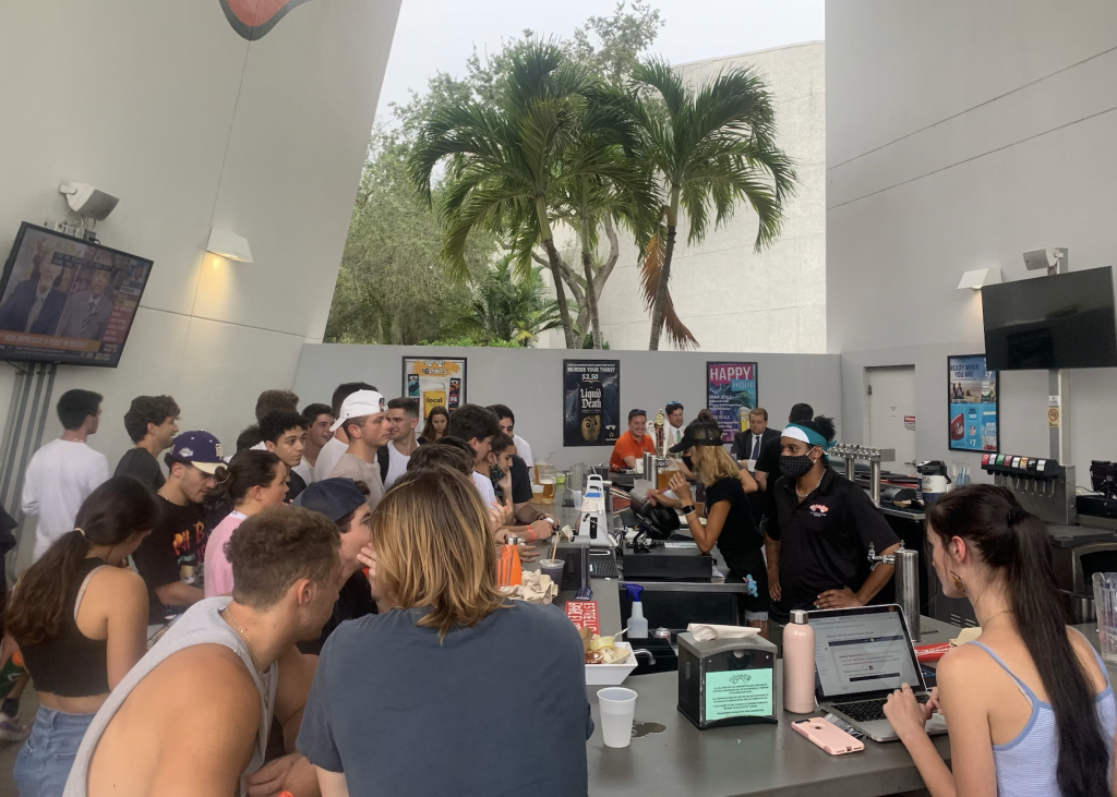 University of Miami students surround the outdoor bar at the Rathskeller at UM on Sept. 22, 2021.