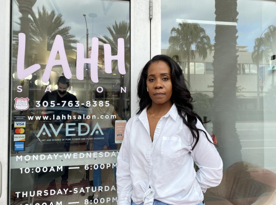 Marsha Graham in front of Lahh Salon on Harding Avenue in Surfside on Sept. 16, 2021.