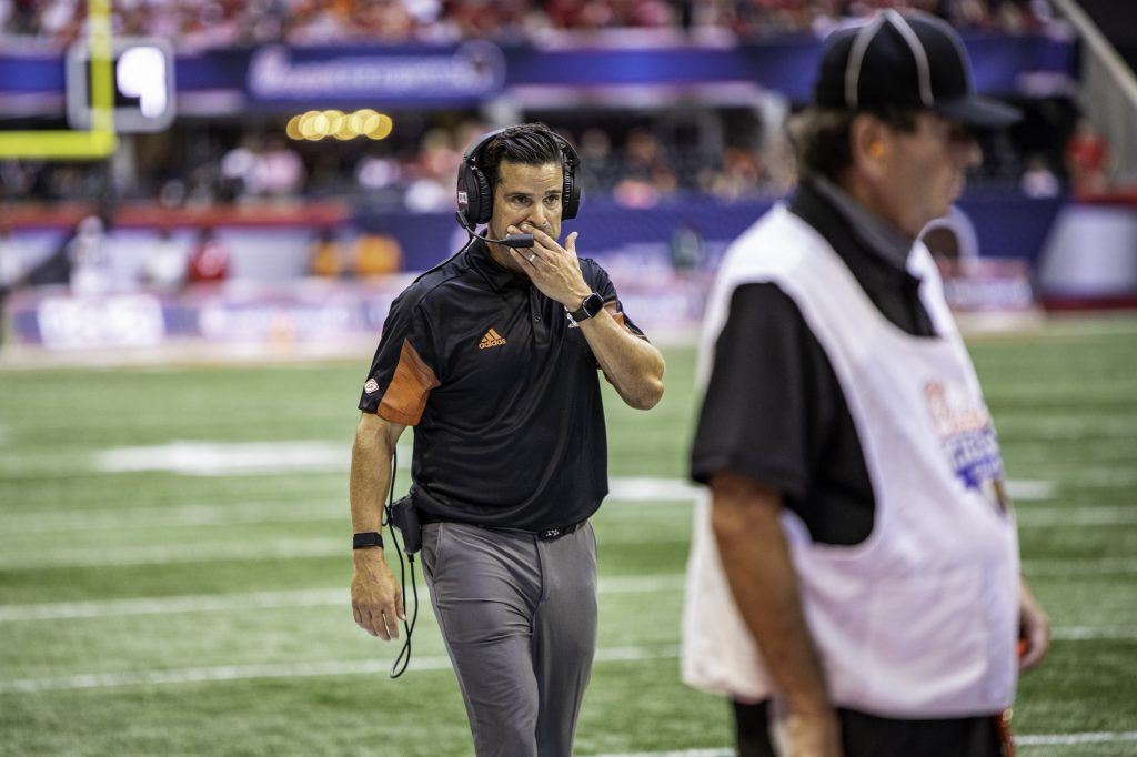 Miami head coach Manny Diaz on the sidelines in the second half of Miami's game against Alabama at Mercedes-Benz Stadium in Atlanta on Sept. 4.