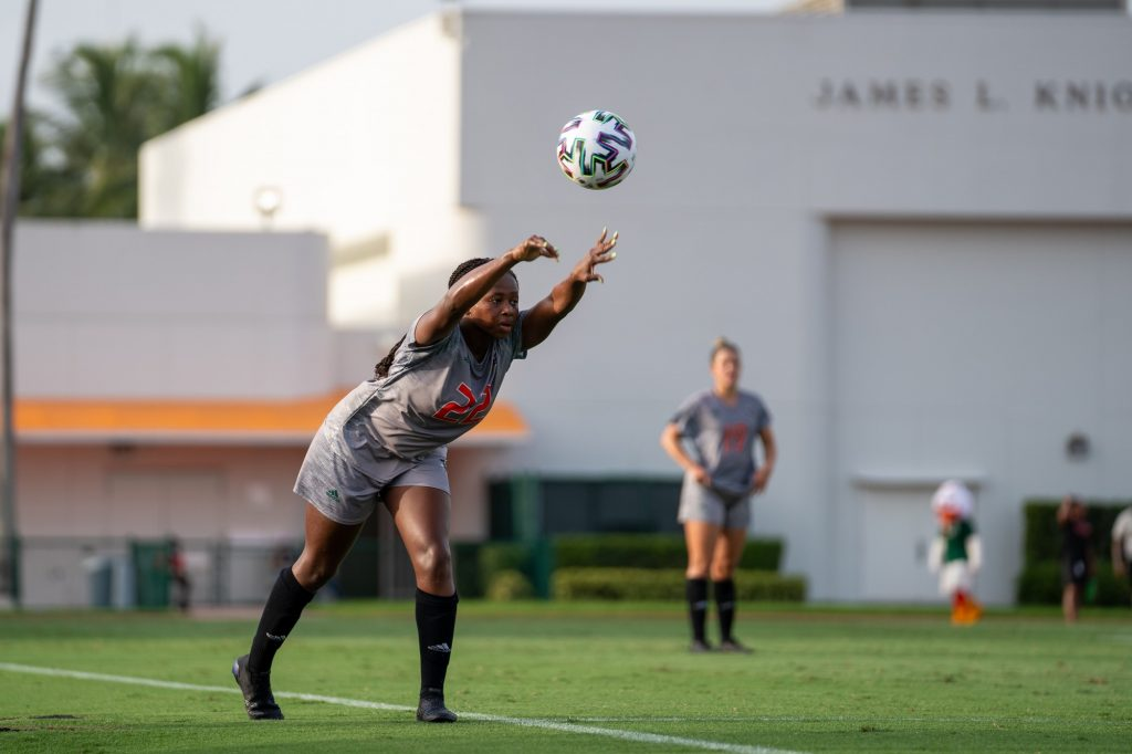 Junior midfielder/defender Taylor Shell throws the ball in during the Canes' match versus FAU at Cobb Stadium on Aug. 22, 2021.