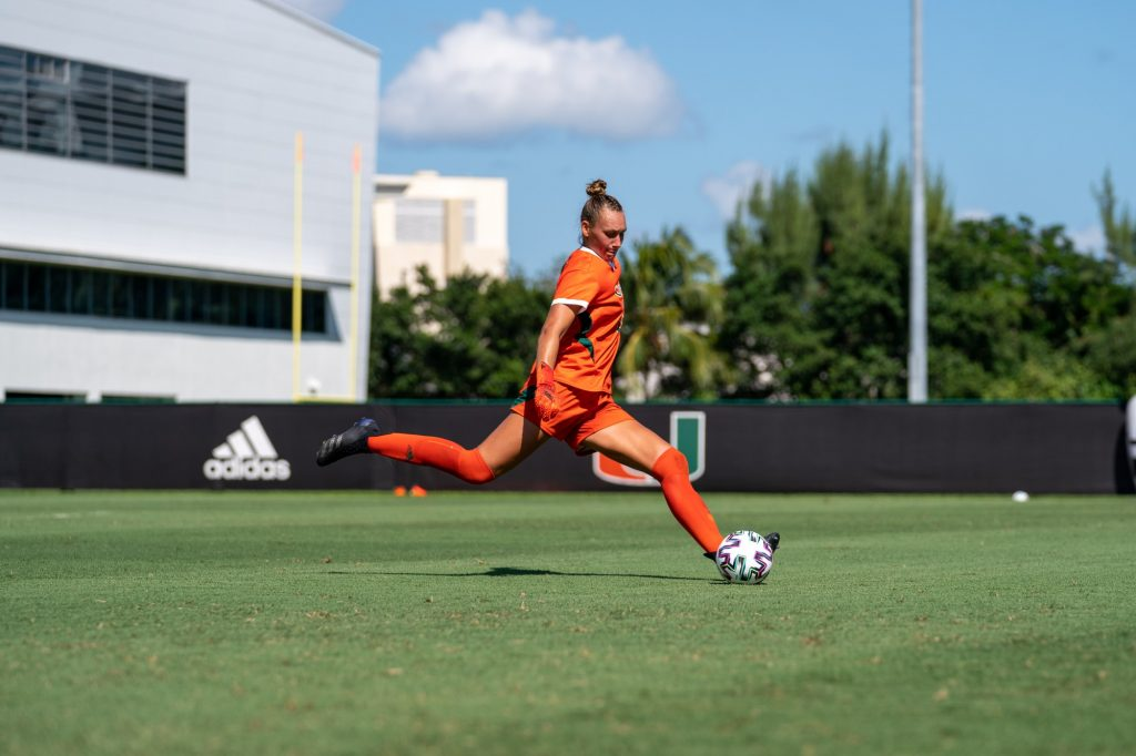 Junior goalkeeper Melissa Dagenais winds up to kick the ball during the first half of Miami's match versus Pittsburgh at Cobb Stadium on Sept. 26, 2021.