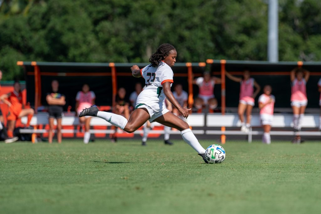 Junior midfielder/defender Taylor Shell winds up to kick the ball during the first half of Miami's match versus Pittsburgh at Cobb Stadium on Sept. 26, 2021.
