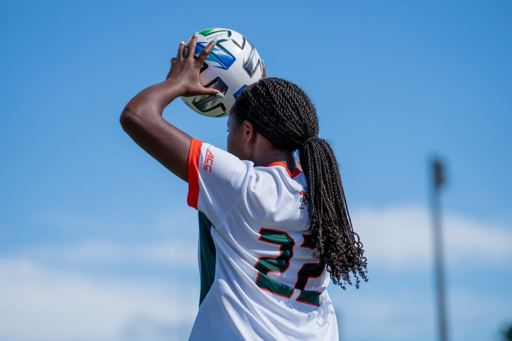 Junior midfielder/defender Taylor Shell looks for an open teammate to throw the ball in to during the first half of Miami's match versus Pittsburgh at Cobb Stadium on Sept. 26, 2021.