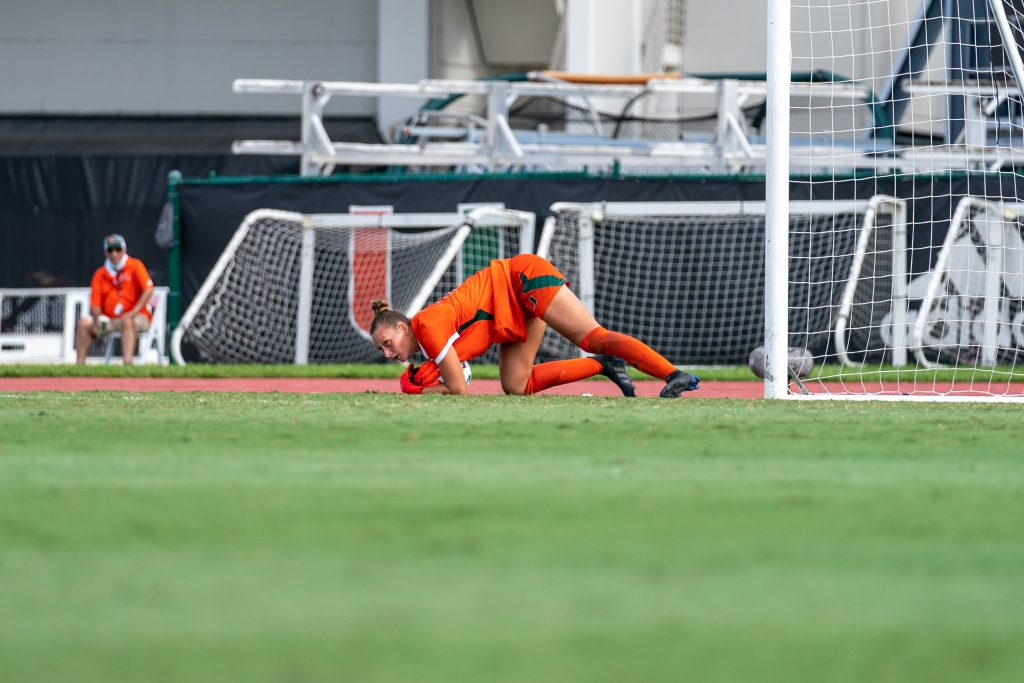 Junior goalkeeper Melissa Dagenais stops the ball after a shot on goal during the second half of Miami's match versus Pittsburgh at Cobb Stadium on Sept. 26, 2021.