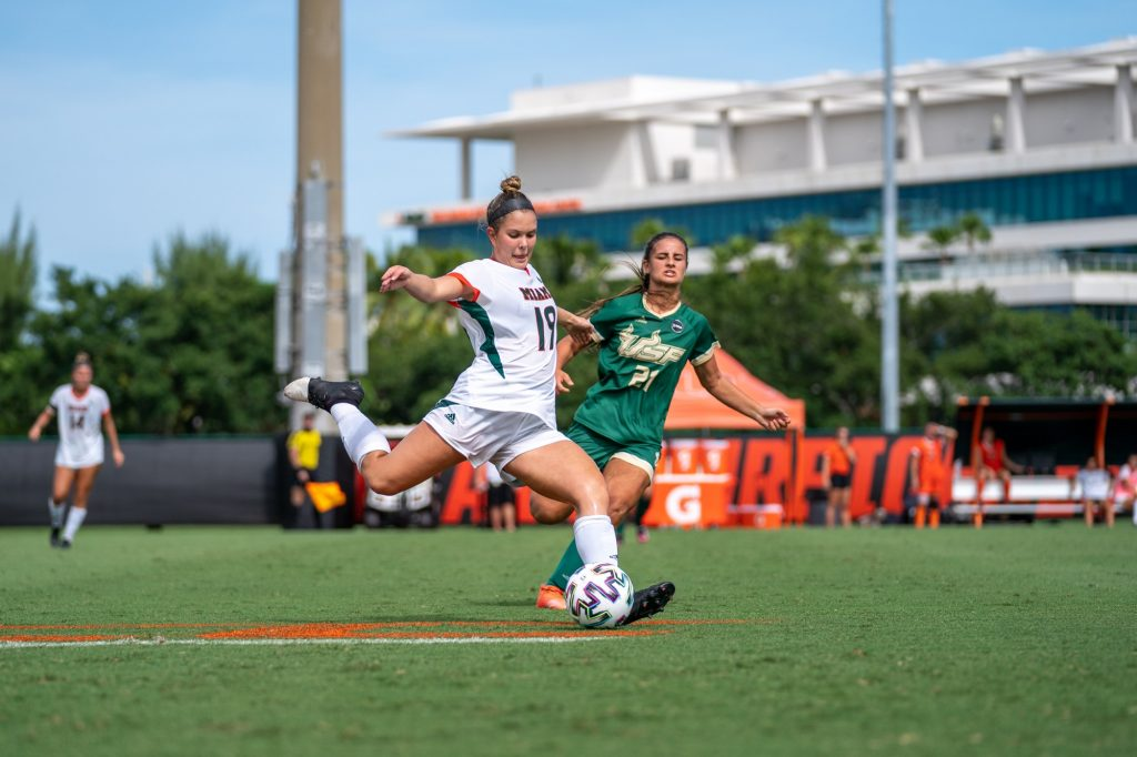 Sophomore defender Delaney Brown winds up to clear the ball during the second half of the Canes' game versus USF at Cobb Stadium on Sept. 12, 2021.