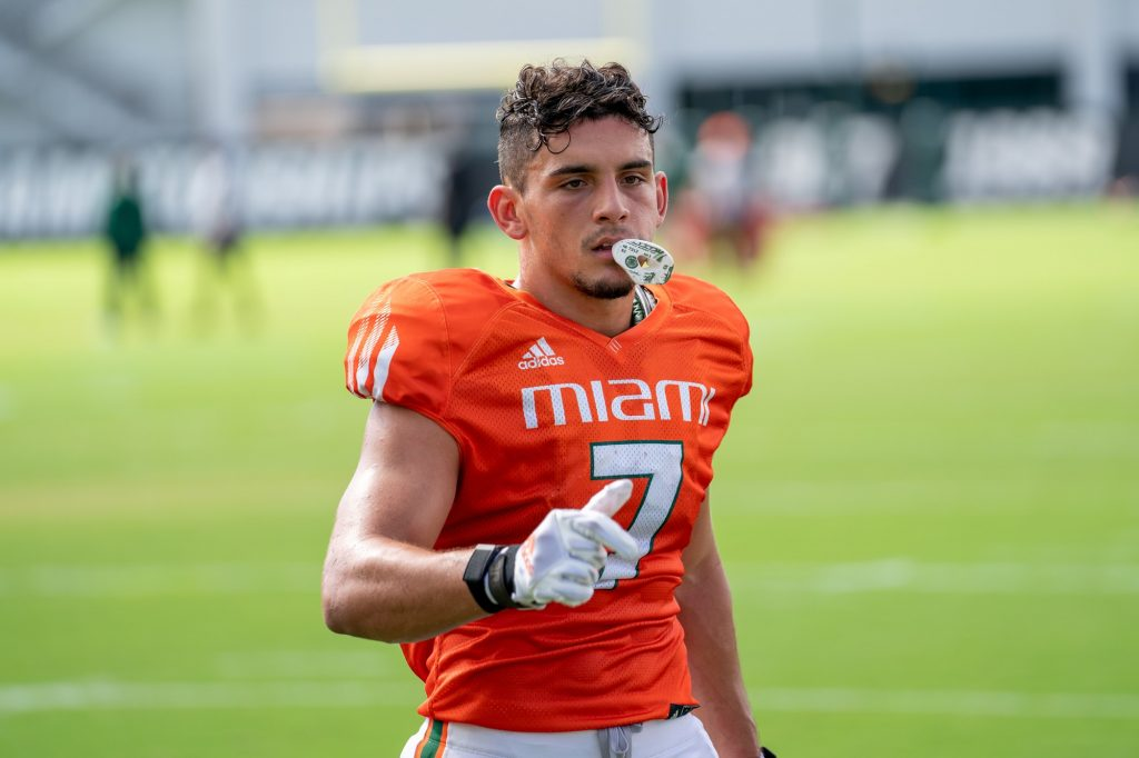Freshman wide receiver Xavier Restrepo walks to the sideline during practice at the Greentree Practice Fields on Aug. 31, 2021.
