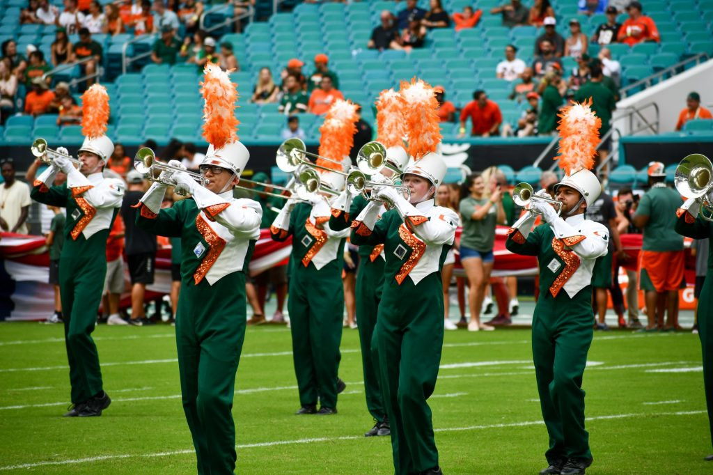 The Frost Band of the Hour performs before the Canes' game versus the Central Michigan Chippewas at Hard Rock Stadium on Sept. 21, 2019.