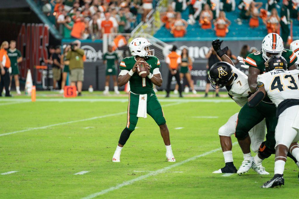 Redshirt senior quarterback D'Eriq King scans downfield during Miami's game versus Appalachian State at Hard Rock Stadium on Sept. 11, 2021.