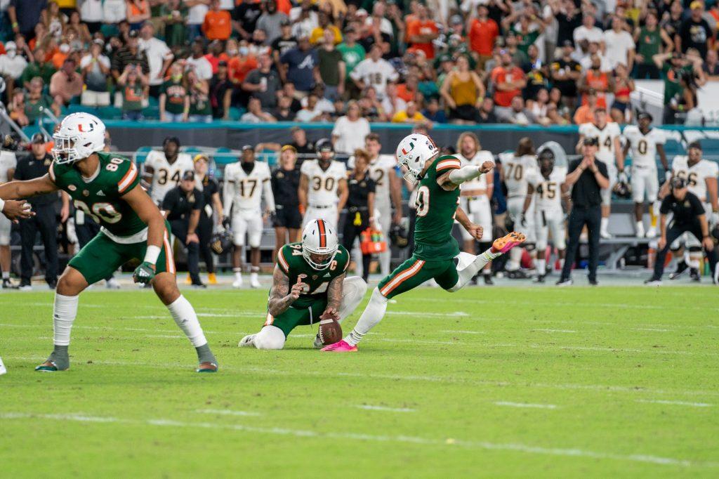 Freshman kicker Andres Borregales kicks a PAT during Miami's game versus Appalachian State at Hard Rock Stadium on Sept. 11, 2021.
