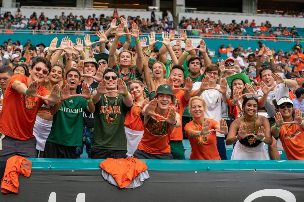 Canes fans and family members throw up the U in the student section during Miami's game versus Central Connecticut State University at Hard Rock Stadium on Sept. 25, 2021.