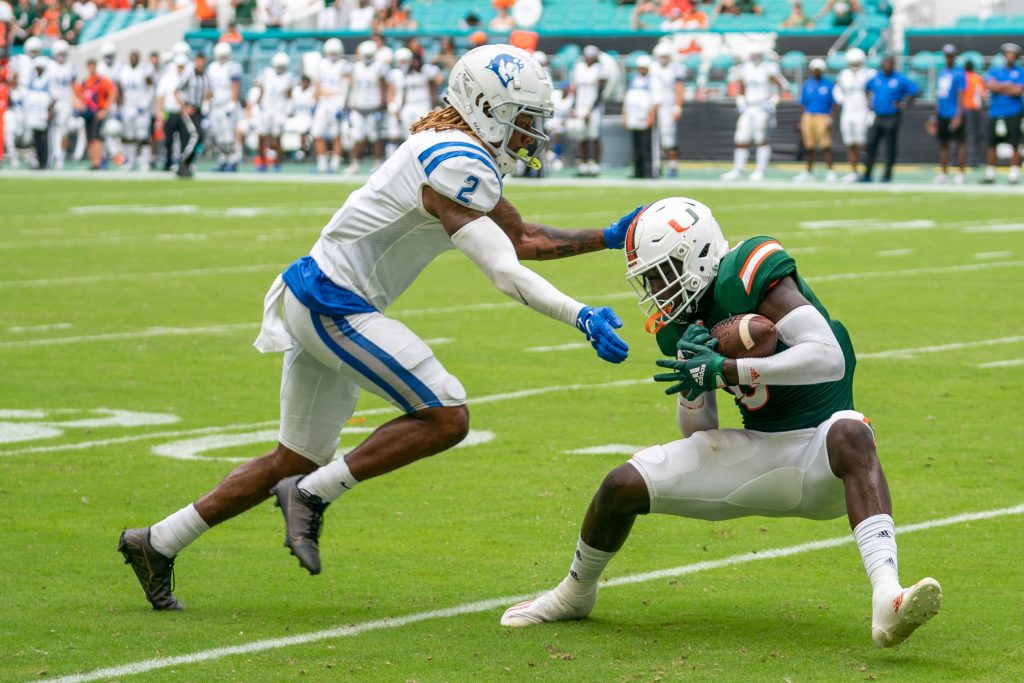 Freshman safety James Williams intercepts a pass during the third quarter of Miami's game versus Central Connecticut State at Hard Rock Stadium on Sept. 25, 2021.