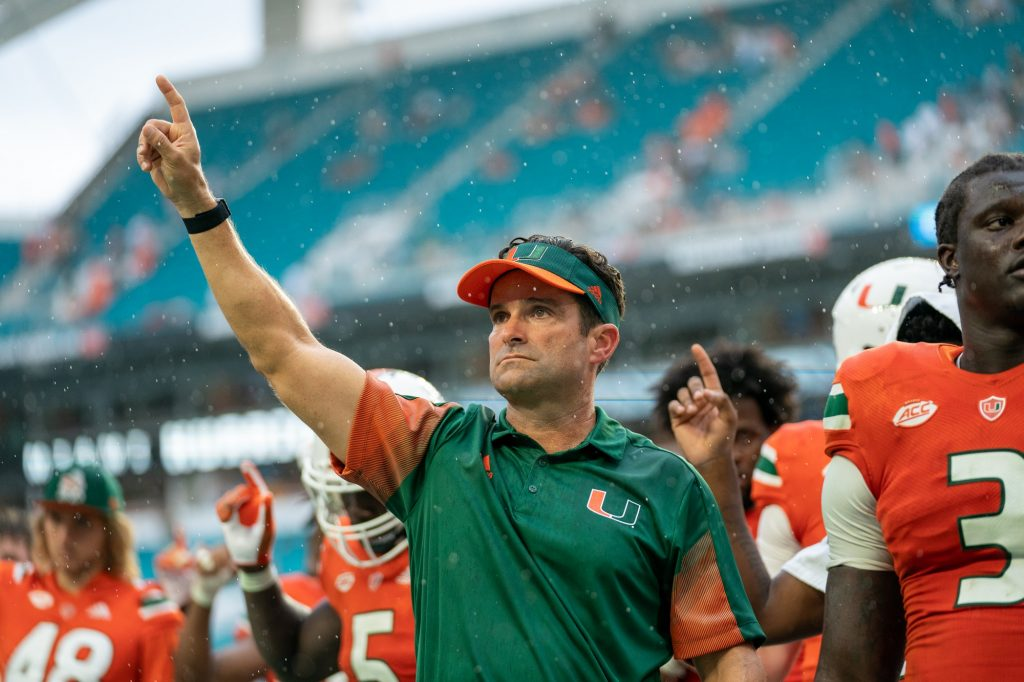 Head coach Manny Diaz, during the singing of the alma matter after Miami's 38-17 loss to Michigan State at Hard Rock Stadium on Sept. 18, 2021.