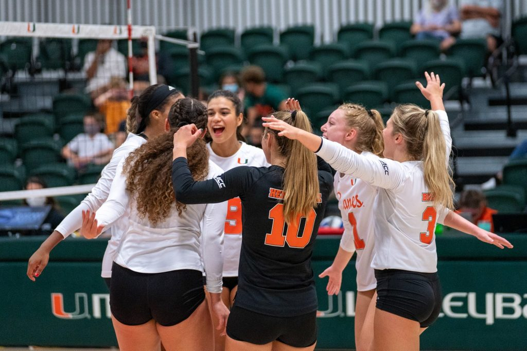 Miami players celebrate scoring a point during their game versus UMBC in the Knight Sports Complex on Aug. 29, 2021.