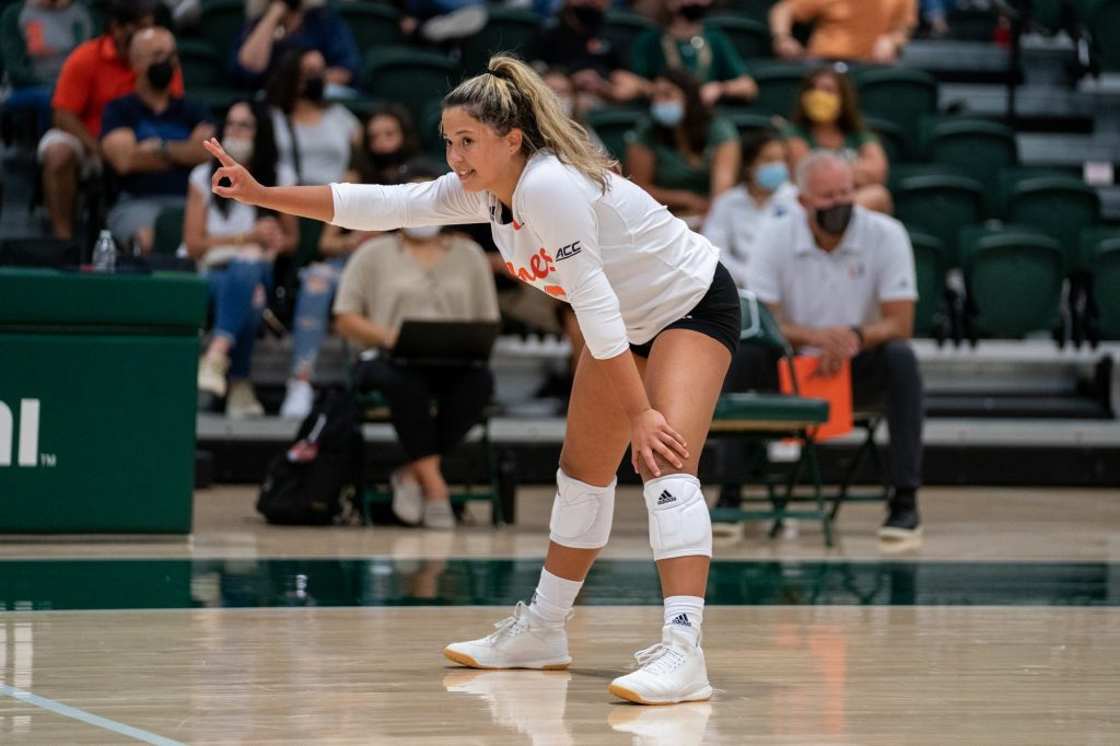 Freshman setter Alanys Viera signals to a teammate during the Canes' game versus UMBC in the Knight Sports Complex on Aug. 29, 2021.