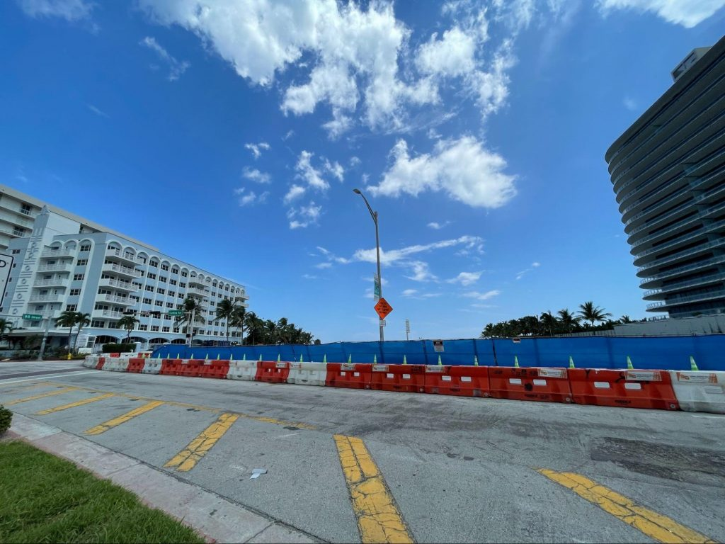 The street view on Collins Avenue between 87th and 88th Street of what remains of Champlain Towers South.