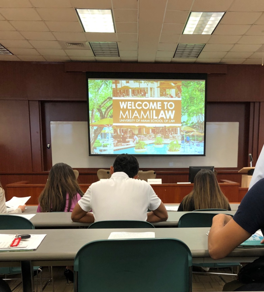 Prospective law school students listen to application tips from admissions counselors.
