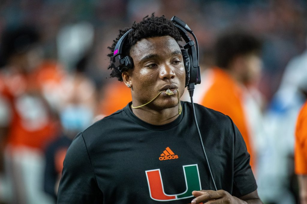 Redshirt senior quaterback D'Eriq King walks down the sideline during the second half of Miami's loss to Virginia Thursday Sept. 30 at Hard Rock Stadium in Miami. King underwent season ending shoulder surgery