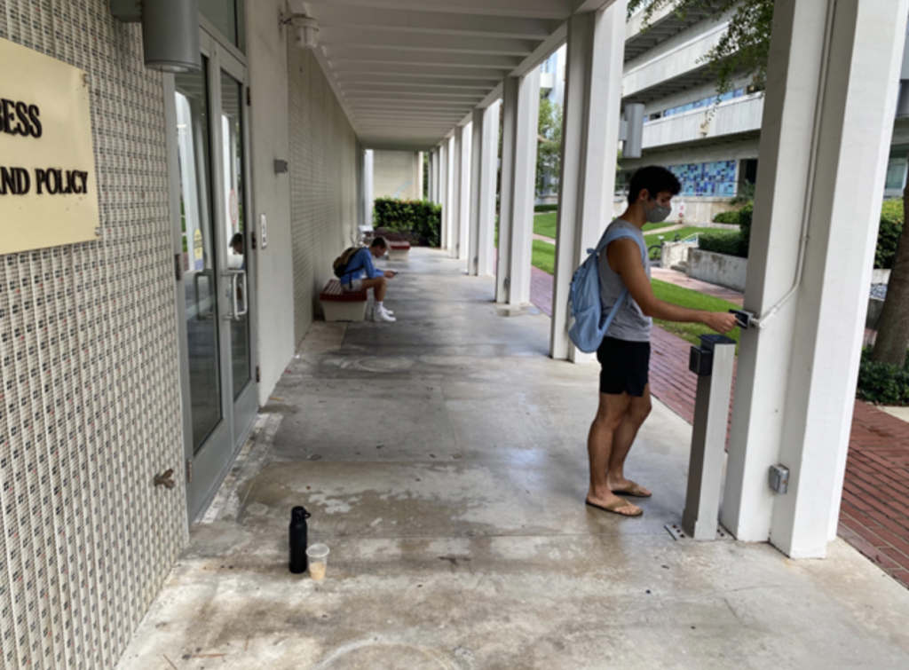 Sophomore Nicholas Forcone, a meteorology major, swipes his Cane Card to enter the Arthur A. Ungar building on the University of Miami Coral Gables campus on Sept. 22, 2021.
