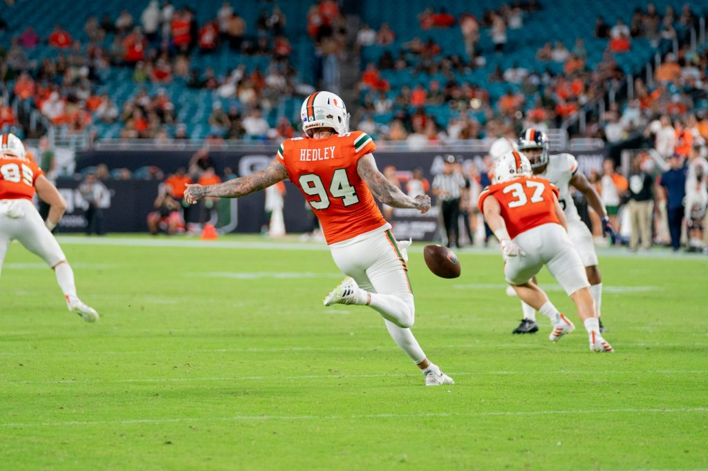 Redshirt junior punter Lou Hedley punts the ball during the third quarter of Miami's game versus the University of Virginia at Hard Rock Stadium on Sept. 30, 2021. Hedley punted 8 times, with a long of 62 yards.