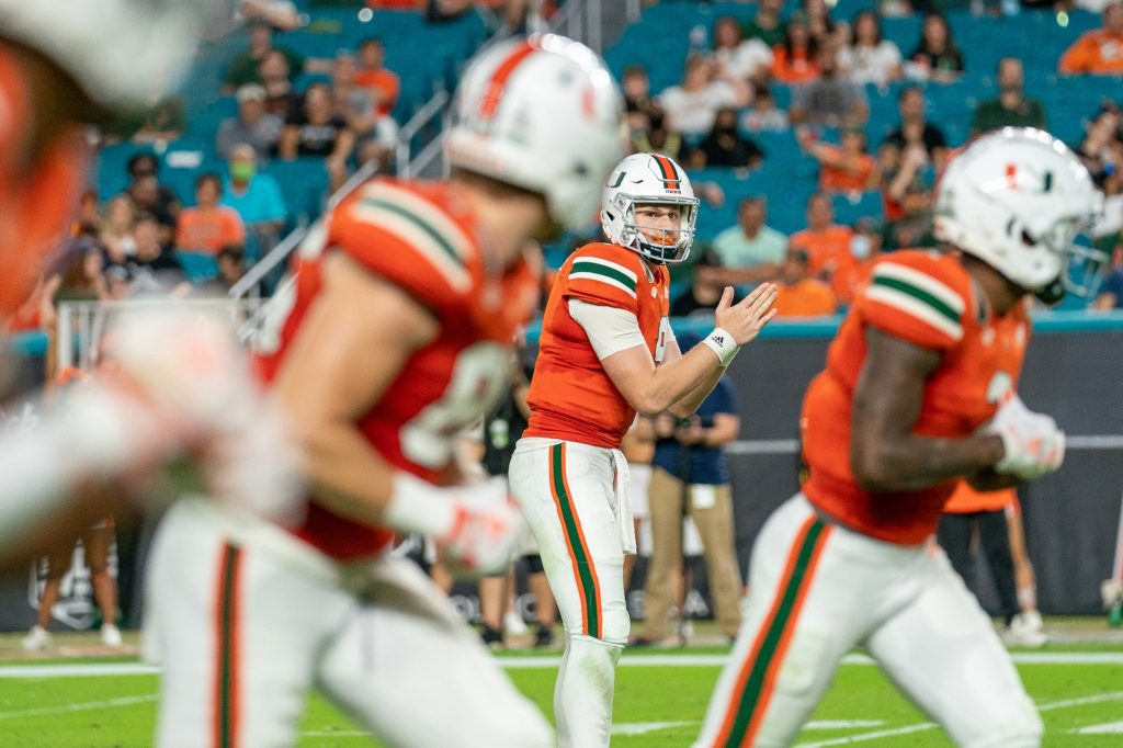 Freshman quarterback Tyler Van Dyke looks at his receivers before calling for the snap during the third quarter of Miami's game versus the University of Virginia at Hard Rock Stadium on Sept. 30, 2021. Van Dyke threw 15 completions on 29 attempts for 203 yards and one touchdown.